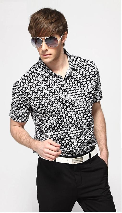 พรีออเดอร์ เสื้อเชิ้ตแฟชั่นเกาหลีสำหรับผู้ชาย ไซต์ปกติ และไซต์ใหญ่ แขนสั้น เก๋ เท่ห์ - Preorder Regular Size and Large Size for Men Korean Hitz Slim Short-sleeved Shirt