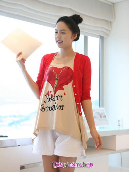 เสื้อกล้ามคลุมท้อง Heart Breaker สีน้ำตาล+เสื้อคลุมทับสีแดง