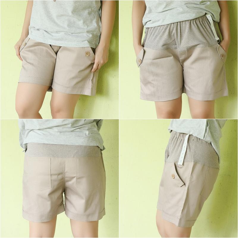 กางเกงคลุมท้อง ปรับระดับ ขาสั้น สีน้ำตาลอ่อน