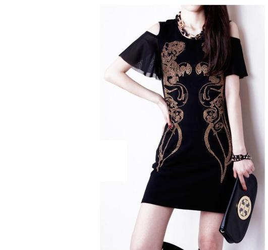 [พรีออเดอร์] ชุดเดรสผู้หญิงแฟชั่นยุโรปอเมริกาใหม่สีดำ แขนสั้น แบบเก๋ เท่ห์ - [Preorder] New European and American Fashion Slim Short-sleeved Black Dress