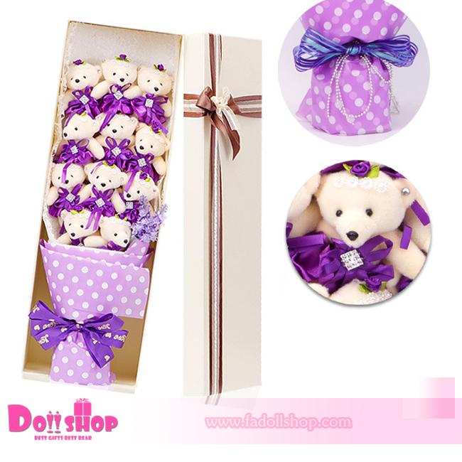 ช่อตุ๊กตาหมีสีม่วง
