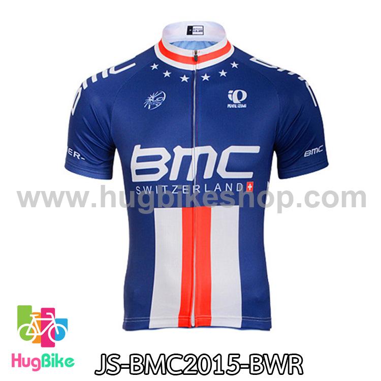 เสื้อจักรยานแขนสั้นทีม BMC 2015 สีน้ำเงินขาวแดง สั่งจอง (Pre-order)