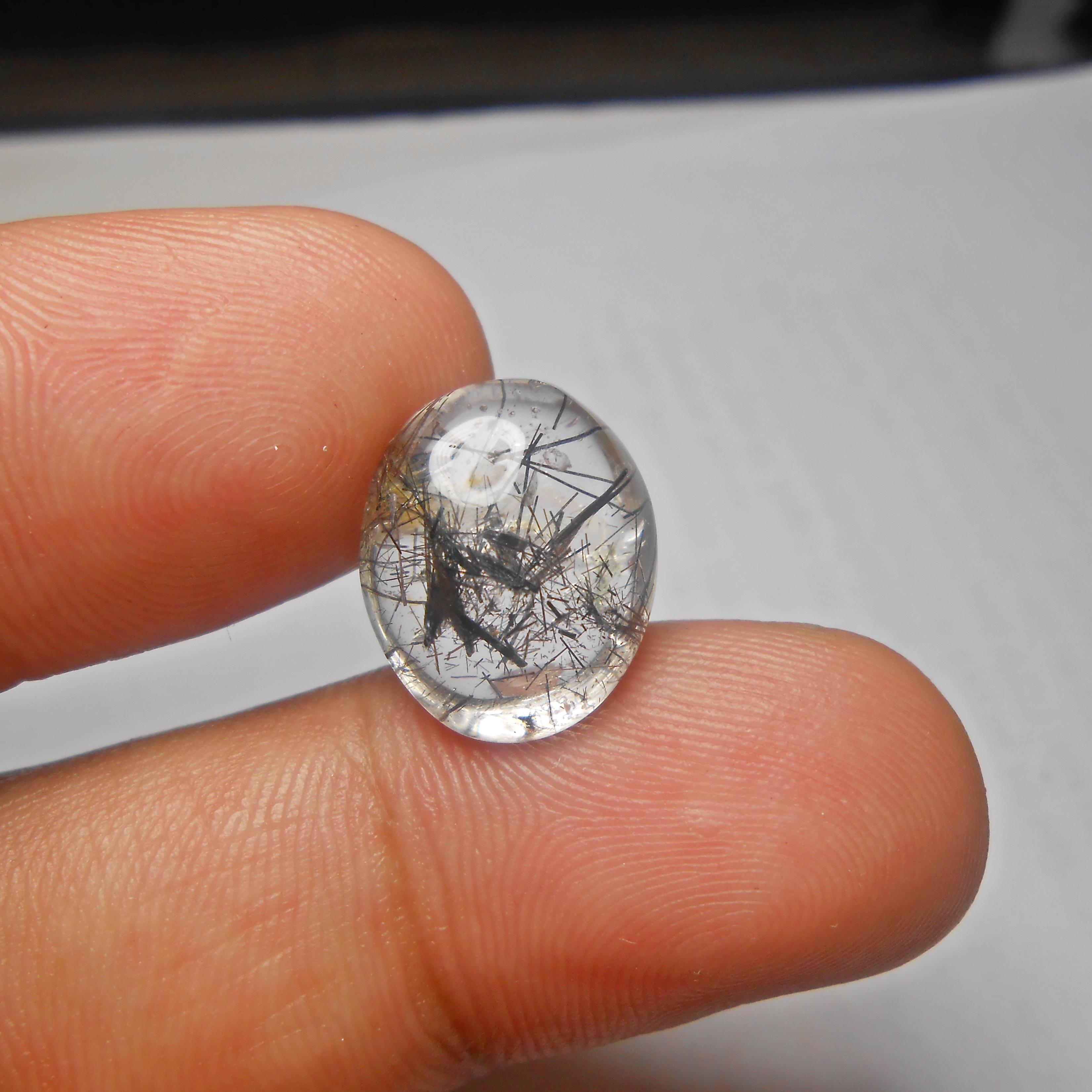 แก้วขนเหล็ก เส้นกระจาย +กาบประกายรุ้ง ขนาด1.6 x 1.2 cm ทำหัวแหวน จี้