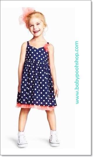 H&M : dress สายเดี่ยวสีน้ำเงิน ผ้า cotton size 1.5-2y