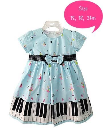 Little me : เดรสสีฟ้า ลายเปียโน