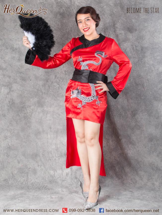 เช่าชุดแฟนซี &#x2665 ชุดแฟนซี ชุดกี่เพ้า หน้าสั้นหลังยาว ปักรูปมังกร