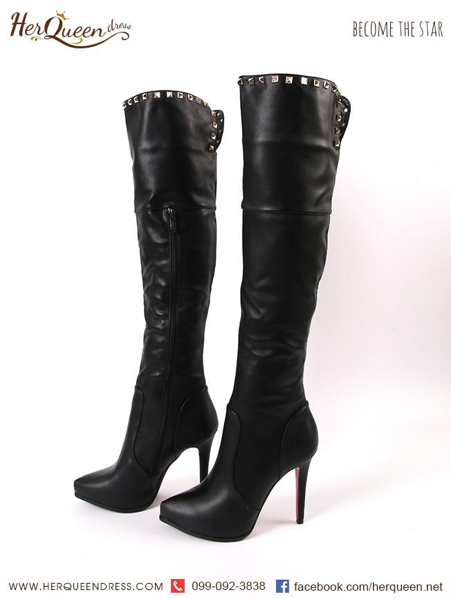 เช่ารองเท้า &#x2665 รองเท้าบู๊ทหนัง สีดำ ทรงสูง แต่งหมุด