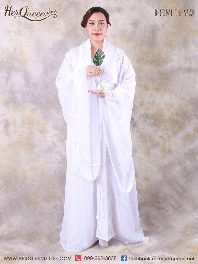 เช่าชุดแฟนซี&#x2665 ชุดแฟนซี ชุดจีนสีขาว ชุดเจ้าแม่กวนอิม
