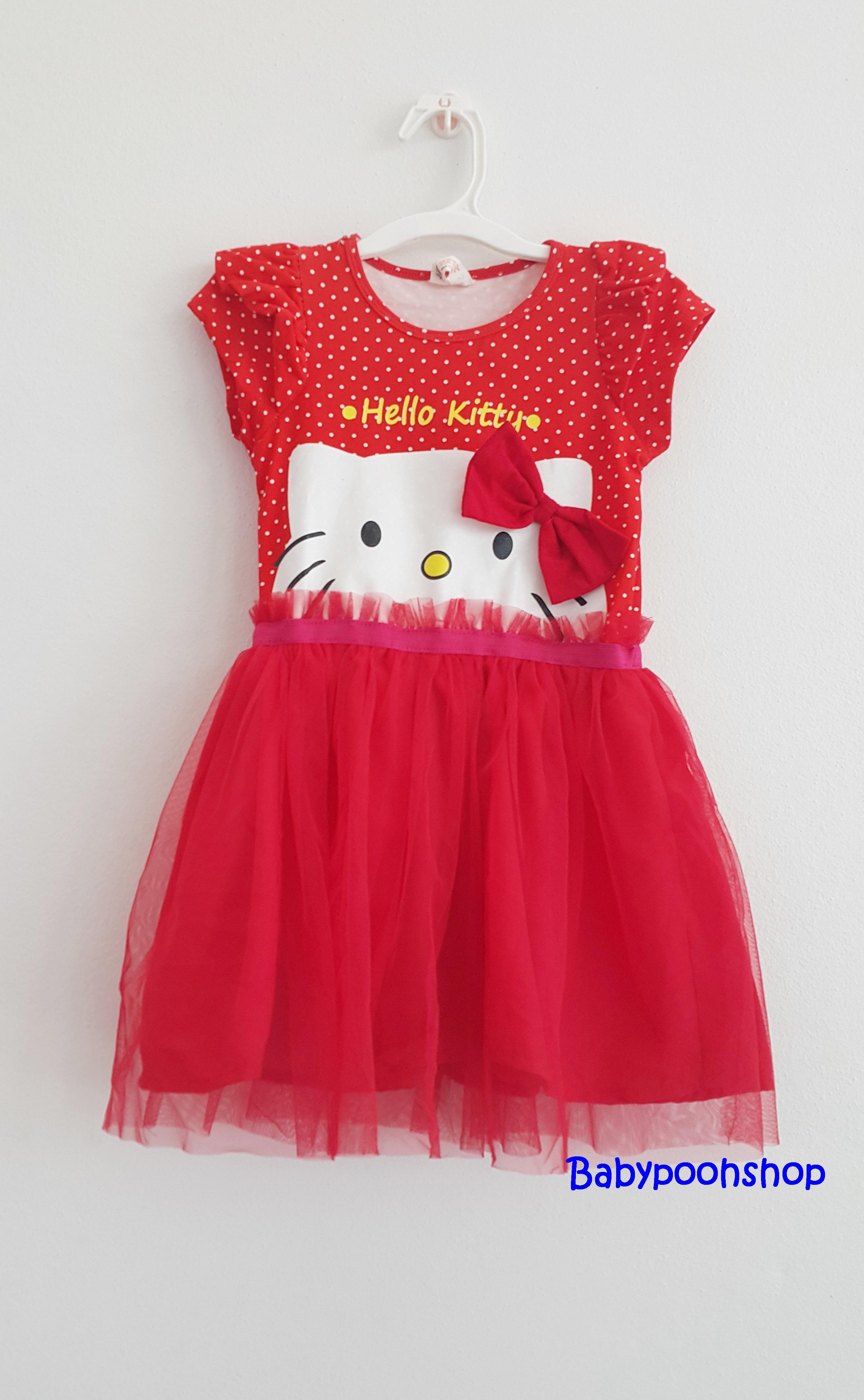 H&M : เดรส สกรีนลาย หน้า Hello Kitty กระโปรงตาข่าย สีแดง (งานติดป้ายผิด) size : 1-2y / 2-4y