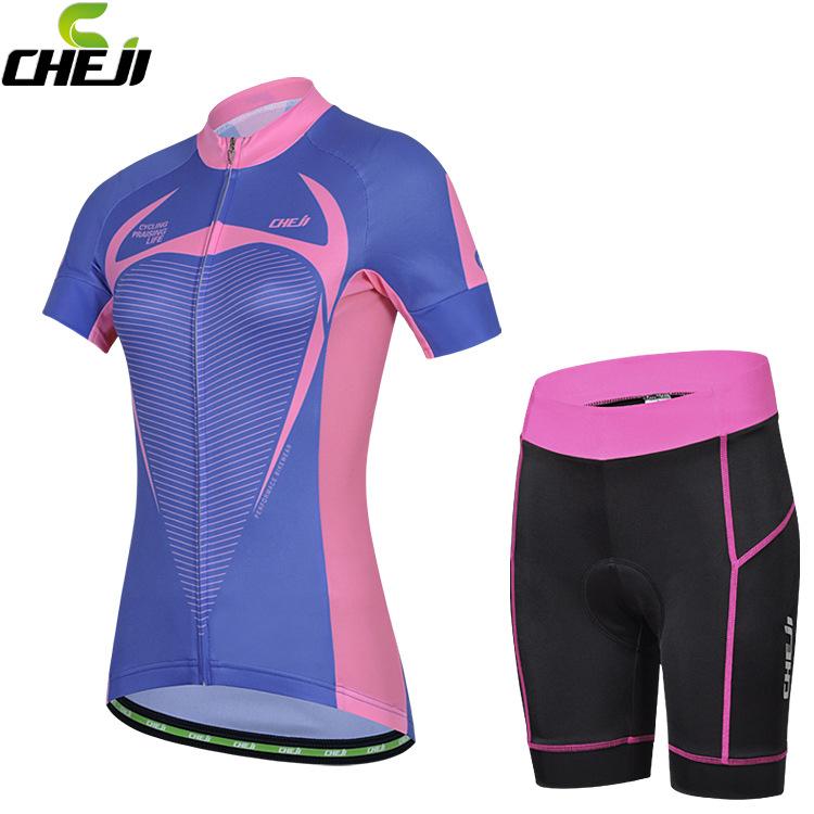 ชุดจักรยานผู้หญิงแขนสั้นขาสั้น CheJi 15 (08) สีน้ำเงินชมพู สั่งจอง (Pre-order)