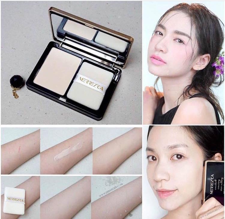 ผลการค้นหารูปภาพสำหรับ Merrez'ca Excellent Covering Skin Setting Pressed PowderSPF50+/PA+++