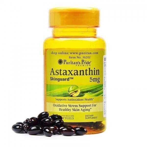 Puritan's Pride Astaxanthin 5 mg 60 Softgels แอสตาแซนธิน สุดยอดอาหารเสริม ต้านอนุมูลอิสระ ปกป้องผิวจากแสงแดด บำรุงผิวอ่อนกว่าวัย ถนอมและบำรุงสายตาสำหรับผู้ที่ใช้สายตาเป็นประจำหรือผู้สูงอายุ