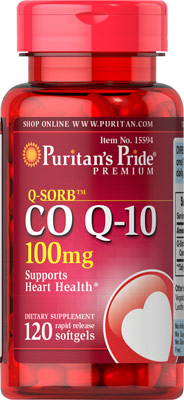 ลดริ้วรอย Puritan's Pride Co Q-10 (โคเอ็นไซม์ คิวเท็น) ขนาด 100 mg จำนวน 120 เม็ด