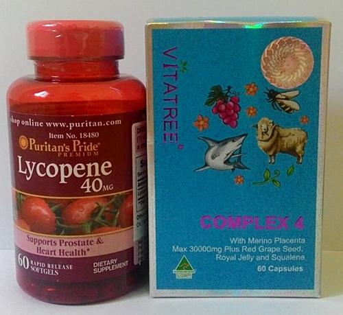 มะเขือเทศ Puritan's Pride Lycopene 1 ปุก 60 Softgels + Vitatree 4 Complex 1 ปุก ขนาด 60 Softgels ทานคู่กันเห็นผลเร็วมาก ทานได้ 2 เดือน