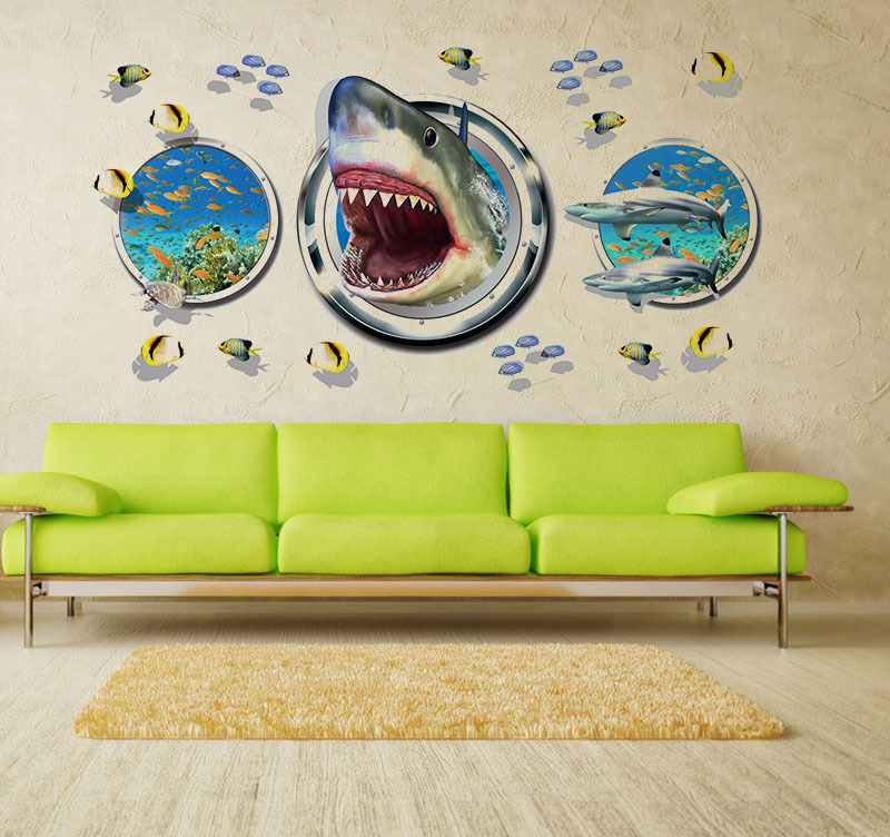 """สติ๊กเกอร์ติดผนังตกแต่งบ้าน 3D """"ปลาฉลาม Shark III"""" ความสูง 60 cm ยาว 90 cm"""