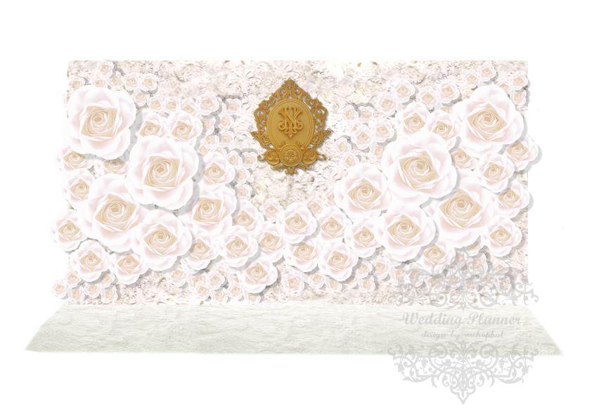 package photo backdropดอกไม้กระดาษเต็มฉาก เช่าฉากถ่ายภาพงานแต่งงานโทนสีขาว ยาว4เมตร