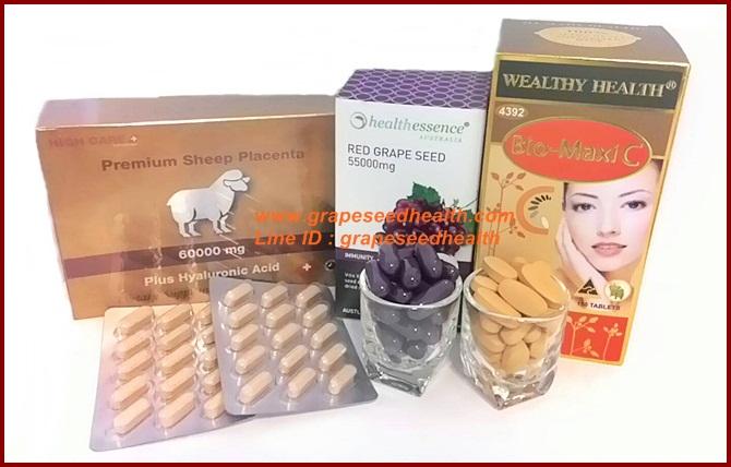 รกแกะ60,000mg.30เม็ด+ healthessence greapeseed 55,000 mg. 30 เม็ด+biomaxi c วิตามินซีสำหรับผิวขาว 30 เม็ด