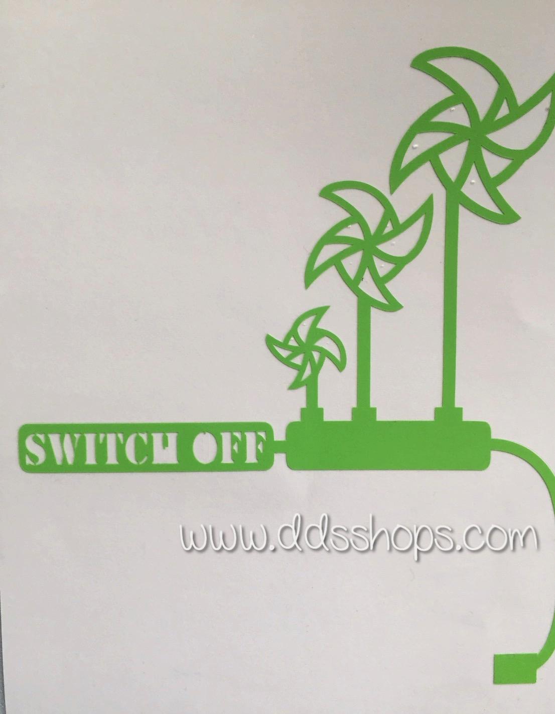 """สติ๊กเกอร์ติดปลั๊กไฟ """"กังหันลม สีเขียว"""" ขนาดซองบรรจุ 15 x 12 cm"""