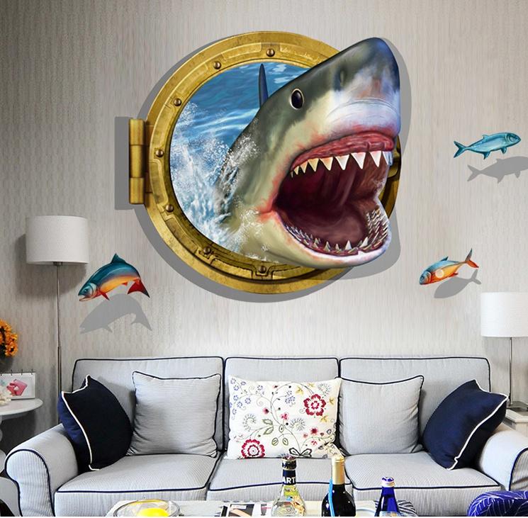 """สติ๊กเกอร์ติดผนัง 3D """"Shark"""" ความสูง 67 cm กว้าง 87 cm"""