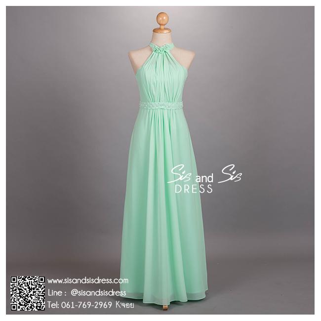 ld3053 ชุดราตรียาว คล้องคอ สีเขียว ติดดอกไม้ช่วงคอ ปักมุขที่เอว ใส่ไปงานแต่งงาน งานพรอม งานบายเนียร์ งานเลี้ยง ชุดเพื่อนเจ้าสาว สวย หรู น่ารัก