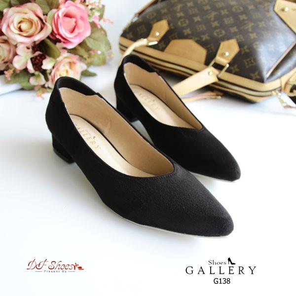 รองเท้าคัทชู หัวแหลม ทรงเก็บหน้าเท้า (สีดำ )