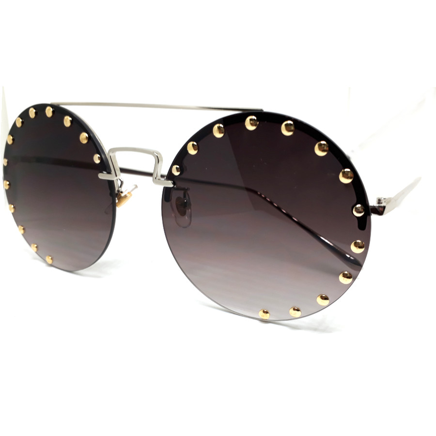 แว่นแฟชั่นทรงกลม ดีไซด์เก๋หรู งานพรีเมี่ยม กรอบสีเงิน เลนส์ดำ