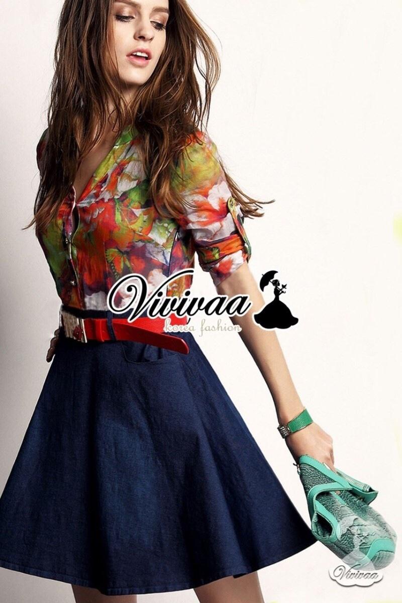 Vivivaa recommend Clorly flora shirt denim skirt dress