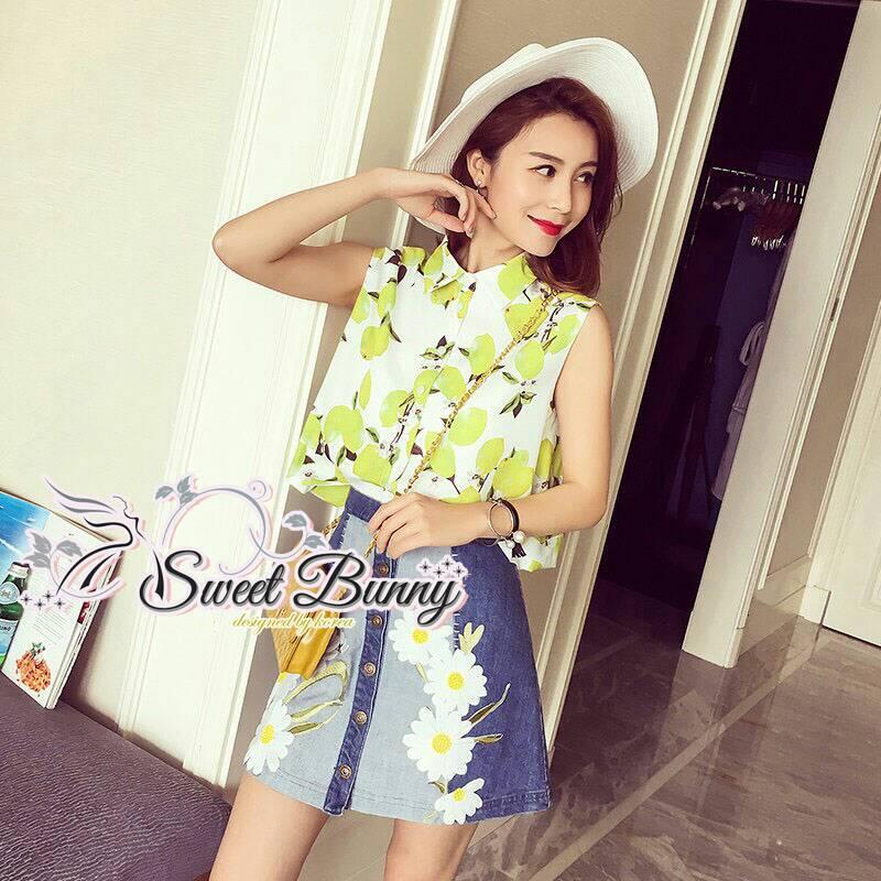 Sweet Bunny Present... Lemon Blossom Sleeveless Shirt and Denim Embroidered Daisy Skirt Set