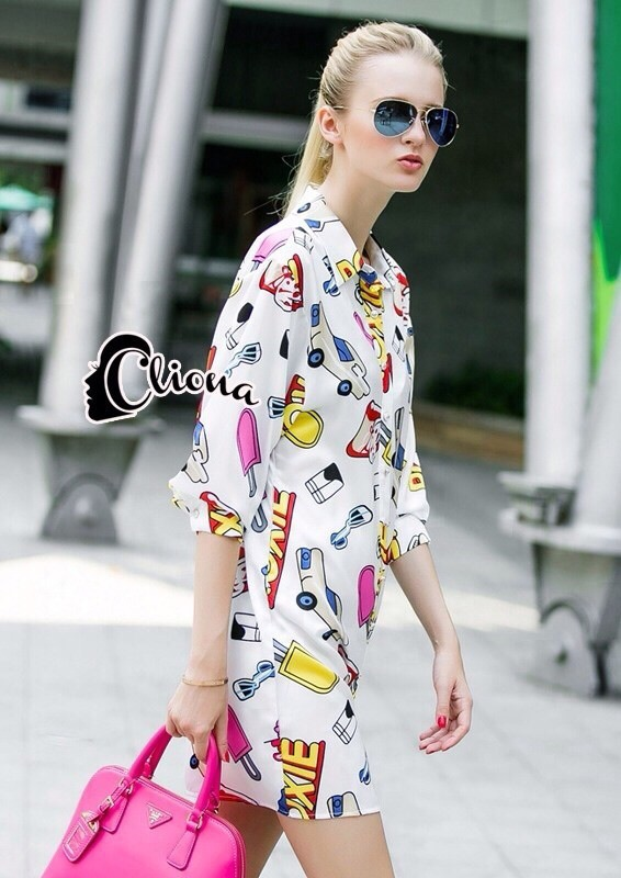Cliona made' City Life Print Over Size Shirt Dress