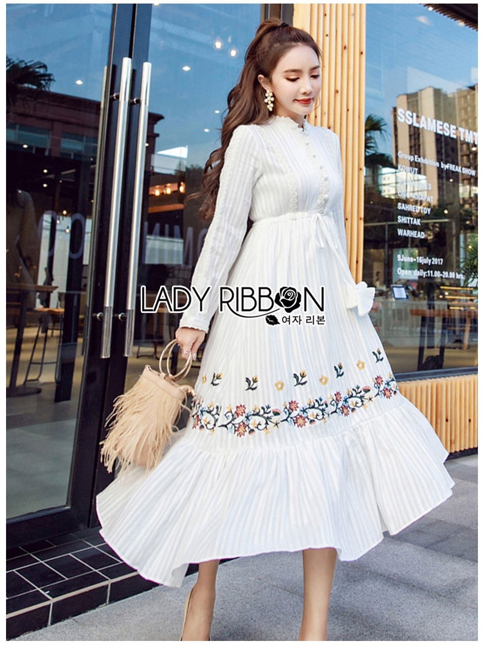 🎀 Lady Ribbon's Made 🎀 Lady Lauren Flower Embroidered White Cotton Maxi Dress
