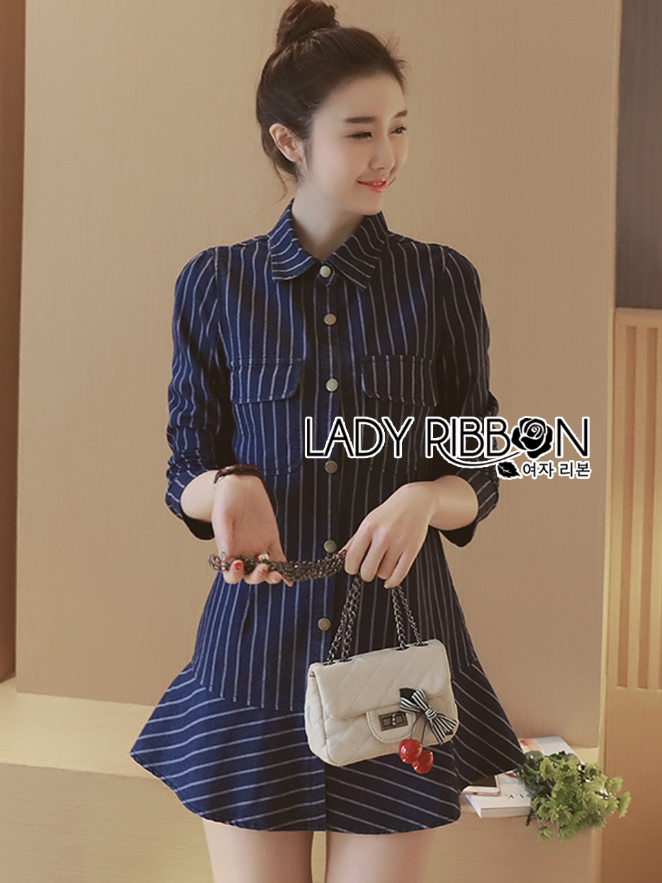 Lady Grace Minimal Chic Striped Peplum Denim Shirt Dress