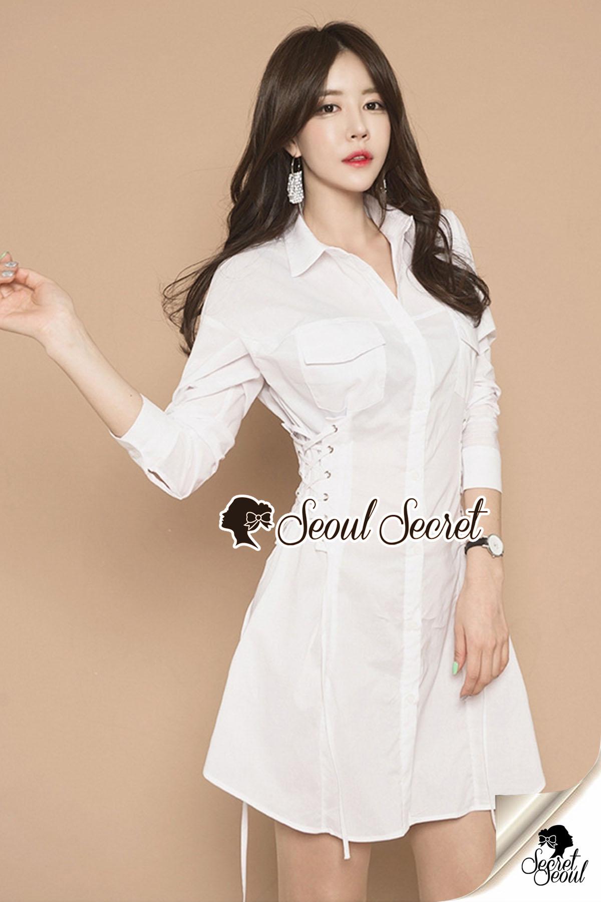 Seoul Secret Say's... Roppy Side Waist Ivory Shirt Dress