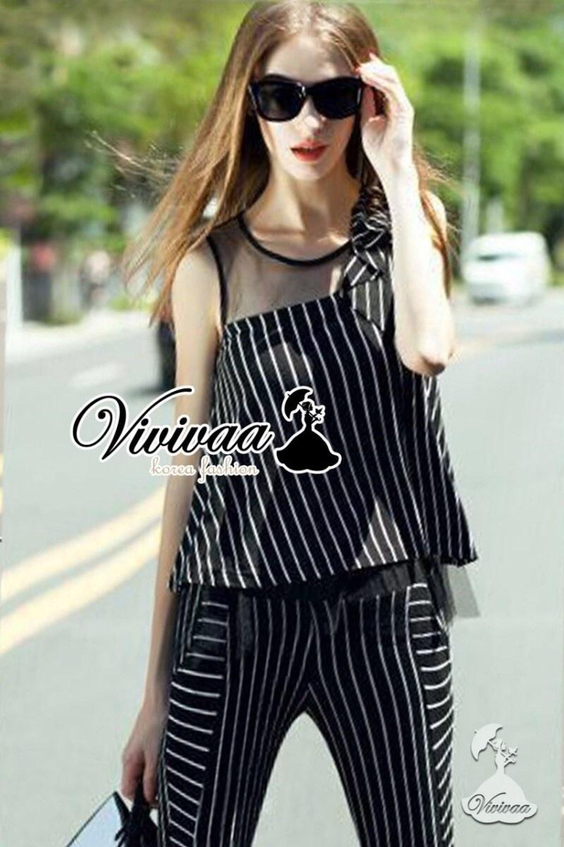Vivivaa recommend Stripy layer nifty set สีดำ