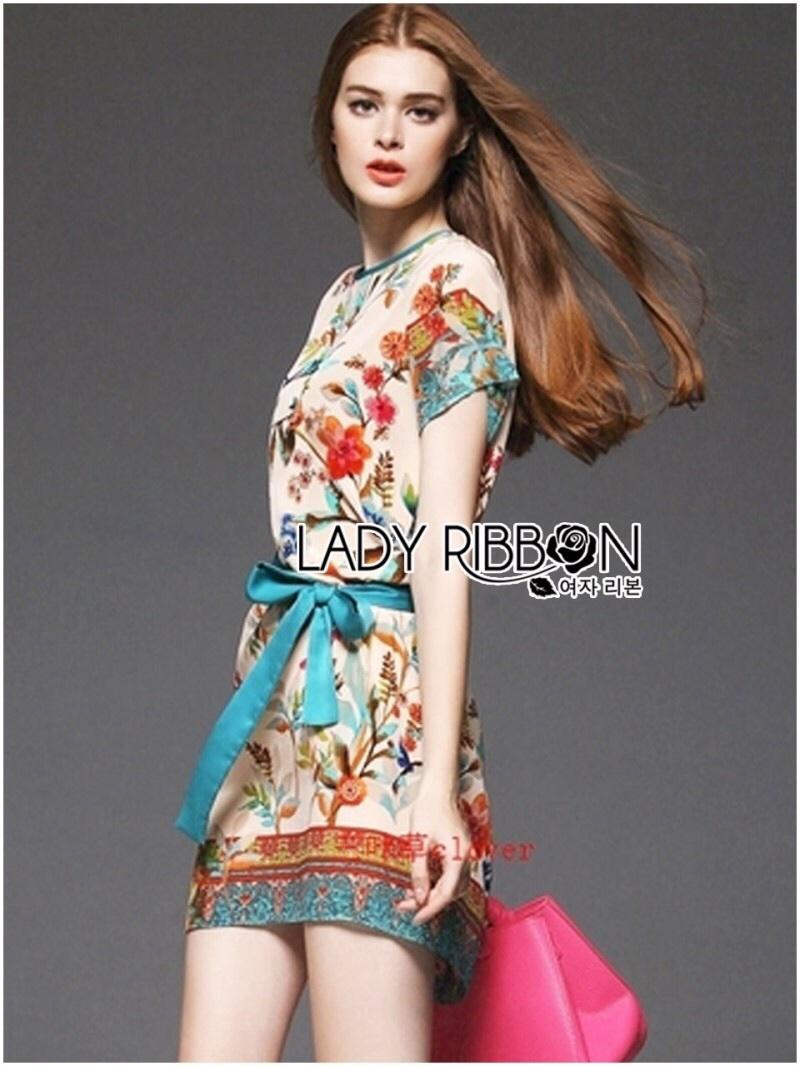 Lady Ribbon's Made Lady Marina Sweet Vintage Floral Printed Dress with Ribbon
