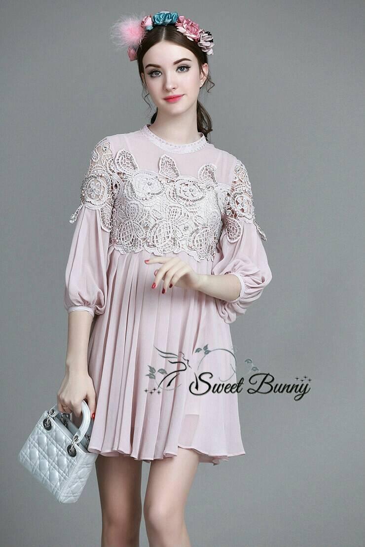 Sweet Bunny Present... Embroidery round brush chiffon Princess dress สีชมพู