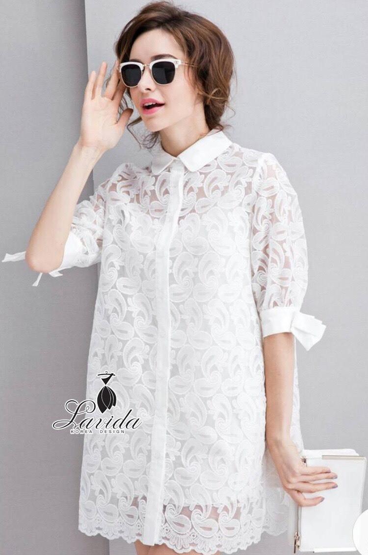 Korea Design By Lavida noble women ribbon half sleeve luxury lace สีขาว