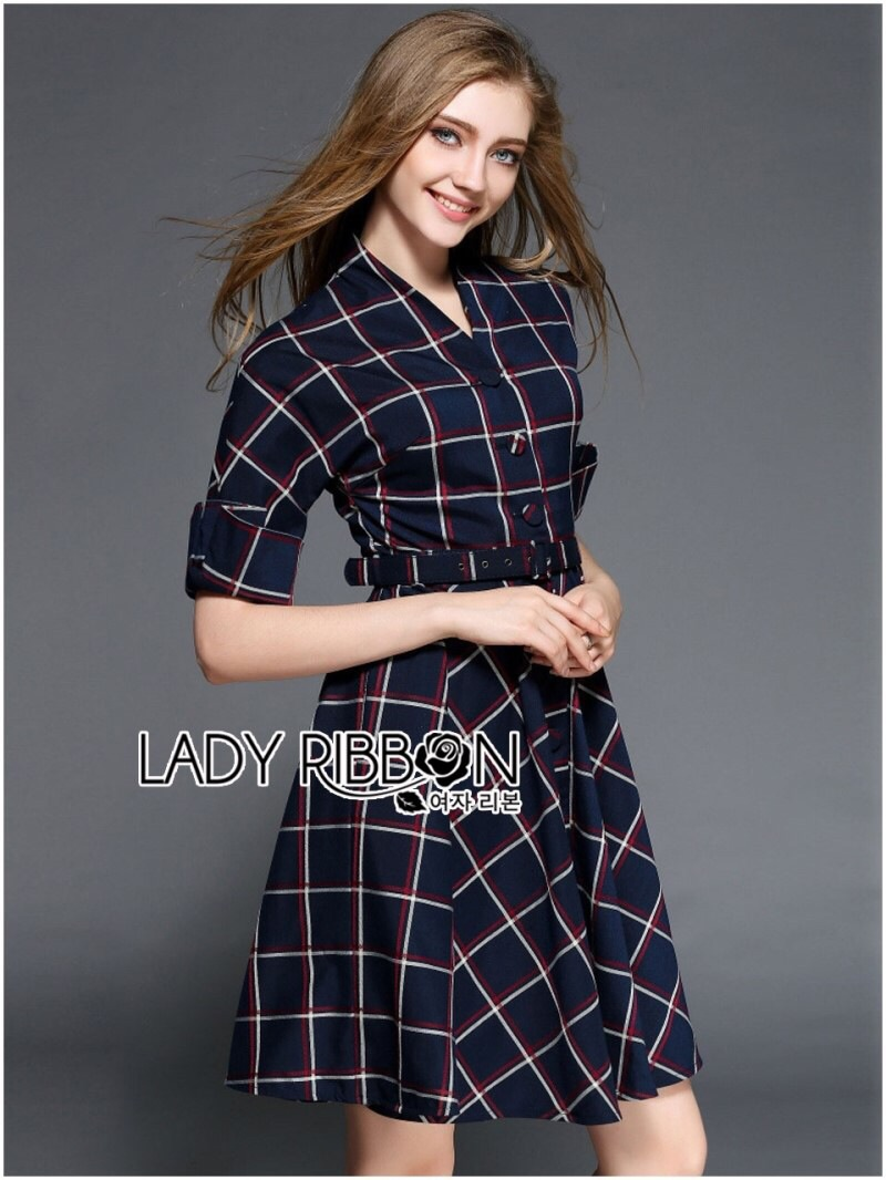 Lady Ribbon's Made Lady Amanda Smart Chic Check Printed Buttoned Dress with Belt