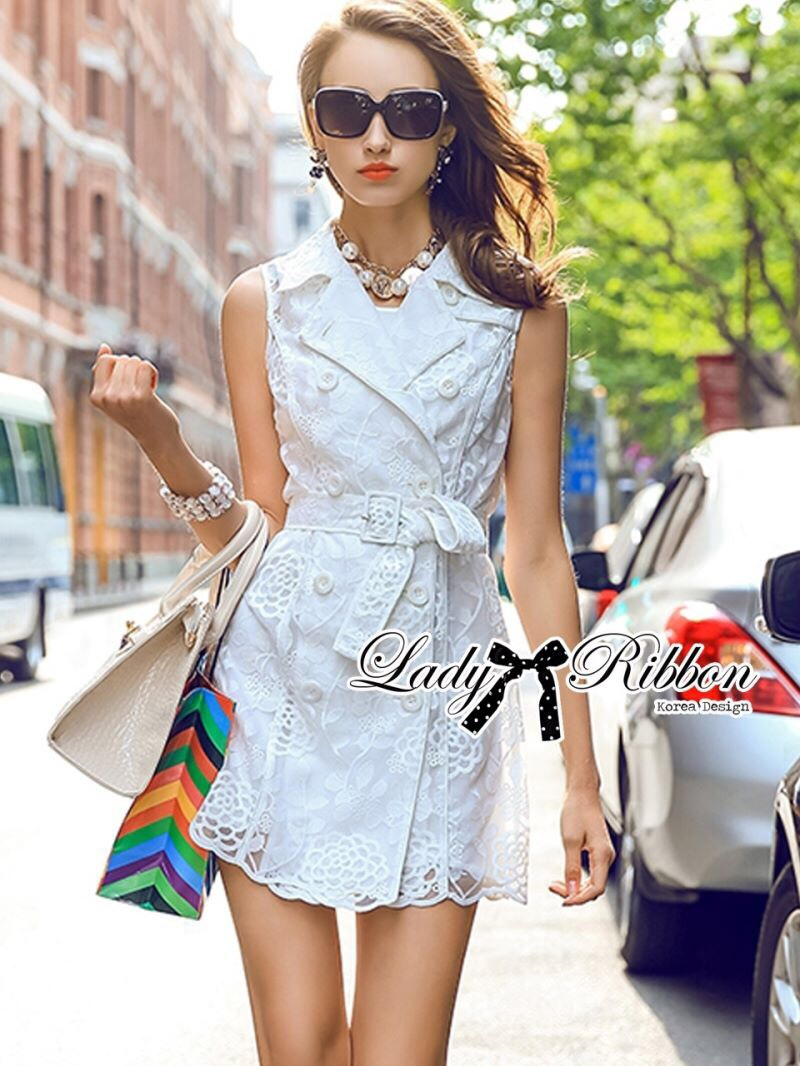 Lady Ribbon's Made Lady Natasha Sophisticated Sleeveless Lace Trench Shirt Dress