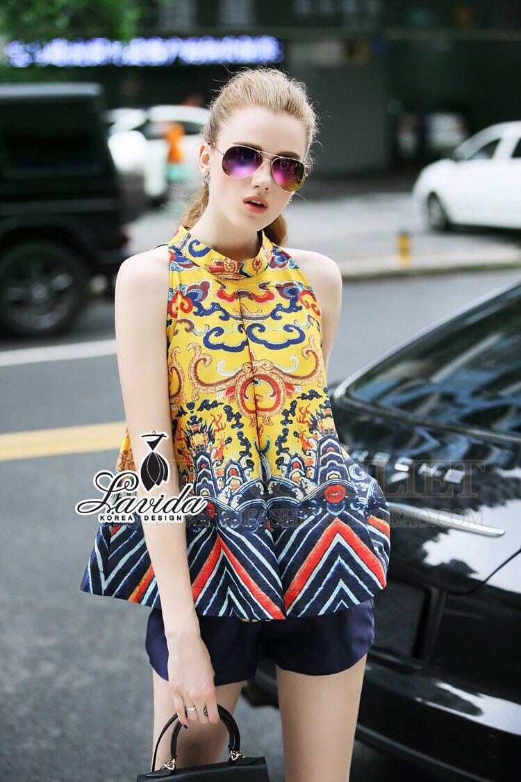 Korea Design By Lavida aristocrat yellow printed sleeveless top short pants chic set