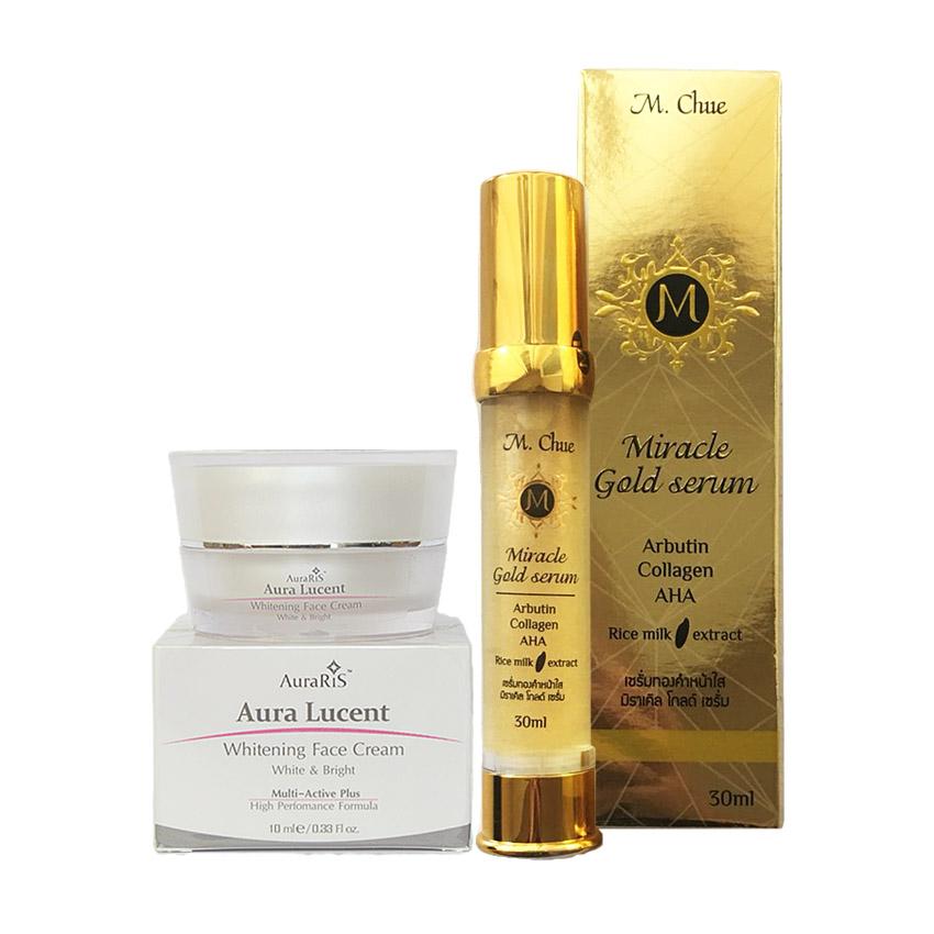 AuraRIS ครีมบำรุงผิวหน้า ครีมหน้าขาว ขาวสวยใส ลดสิว ฝ้า กระ จุดด่างดำ Whitening Face Cream 10 ml + M.Chue Miracle gold serum เอ็ม.จู มิราเคิล โกลด์ เซรั่ม ผสมคลอลาเจนและอัลฟ่าอัลบูติน ช่วยให้ผิวเรียบเนียน สีผิวสม่ำเสมอ ลดจุดด่างดำ ลดรอยแดง