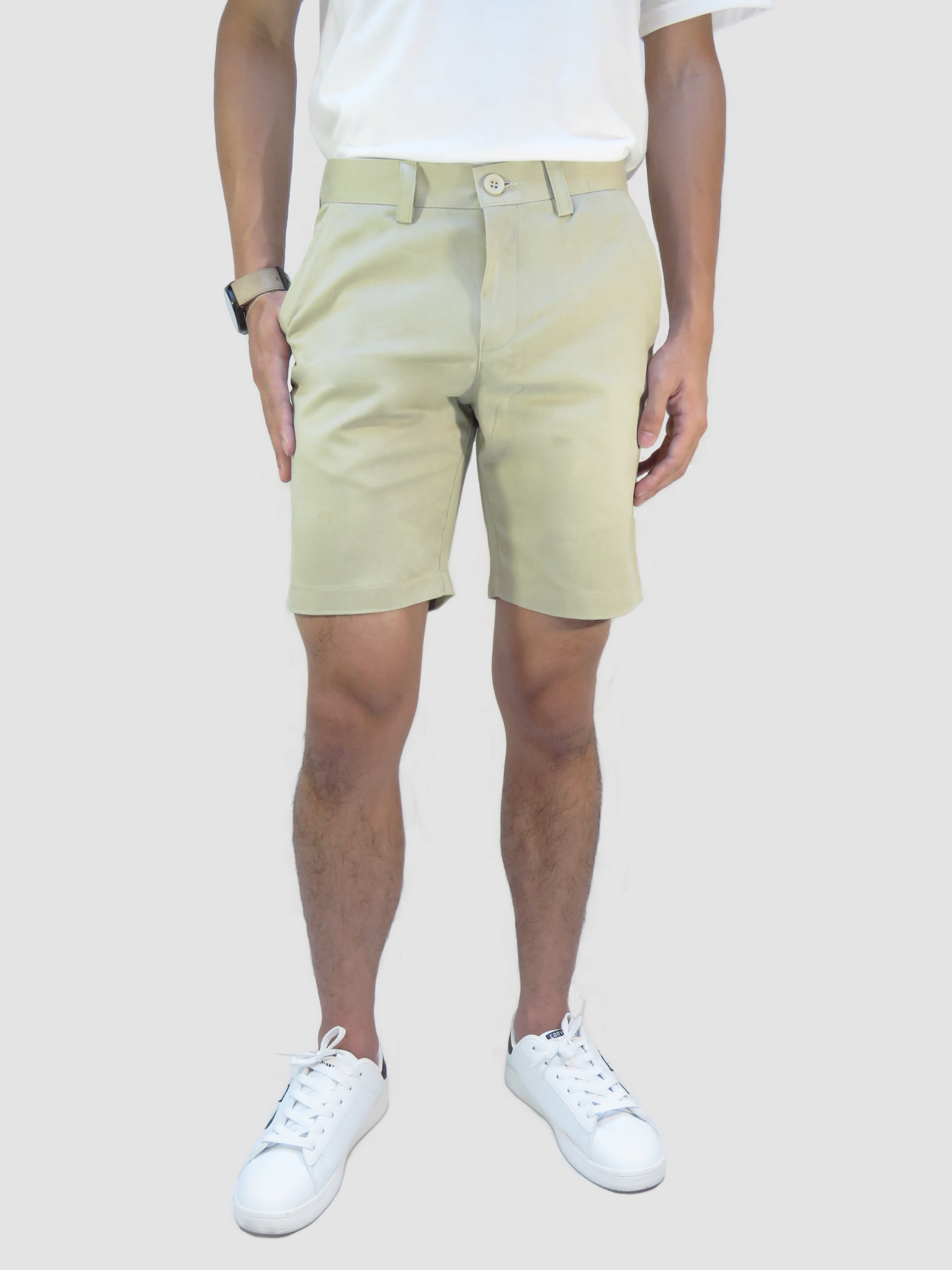 กางเกงขาสั้นชาย สีครีม