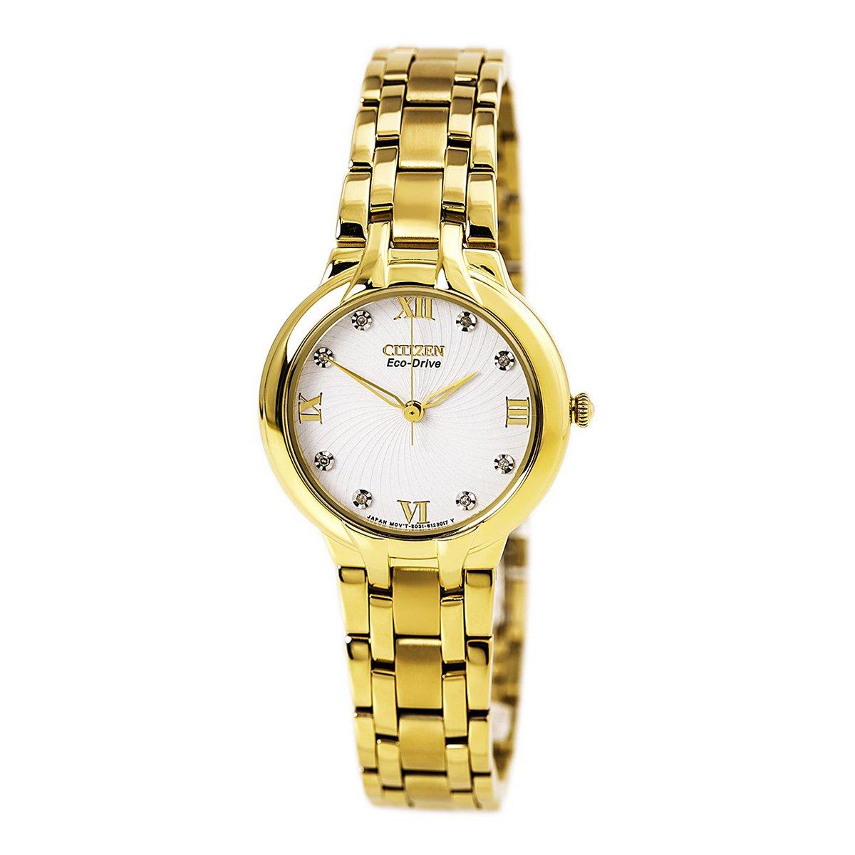 นาฬิกาผู้หญิง Citizen Eco-Drive รุ่น EM0132-59, Bella Gold Tone