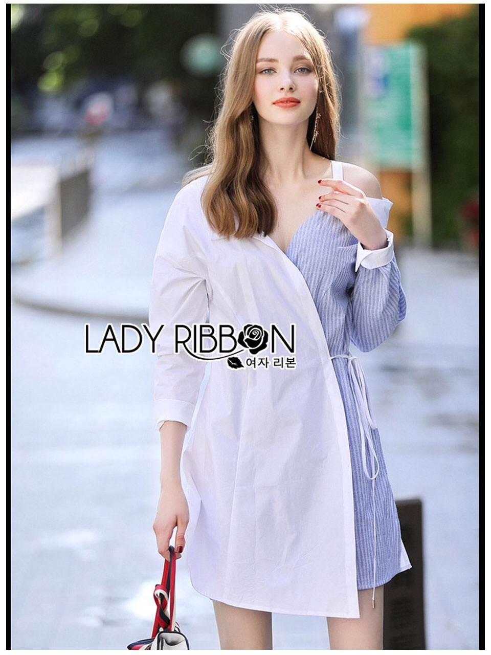 🎀 Lady Ribbon's Made 🎀 Lady Liz Two-Tone Off-Shoulder Cotton Shirt Dress