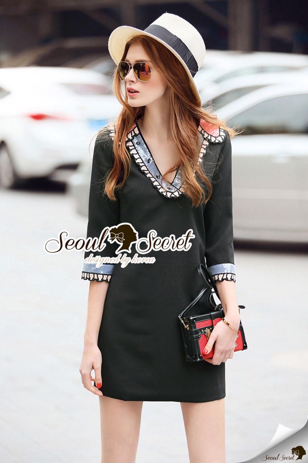 Seoul Secret Say's... Colory Sequin V Collar Dress