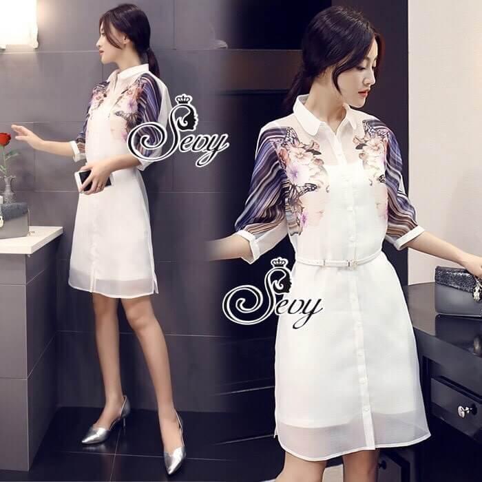 Sevy Make Up Stylish Women Organza Mini Dress(+Lining)