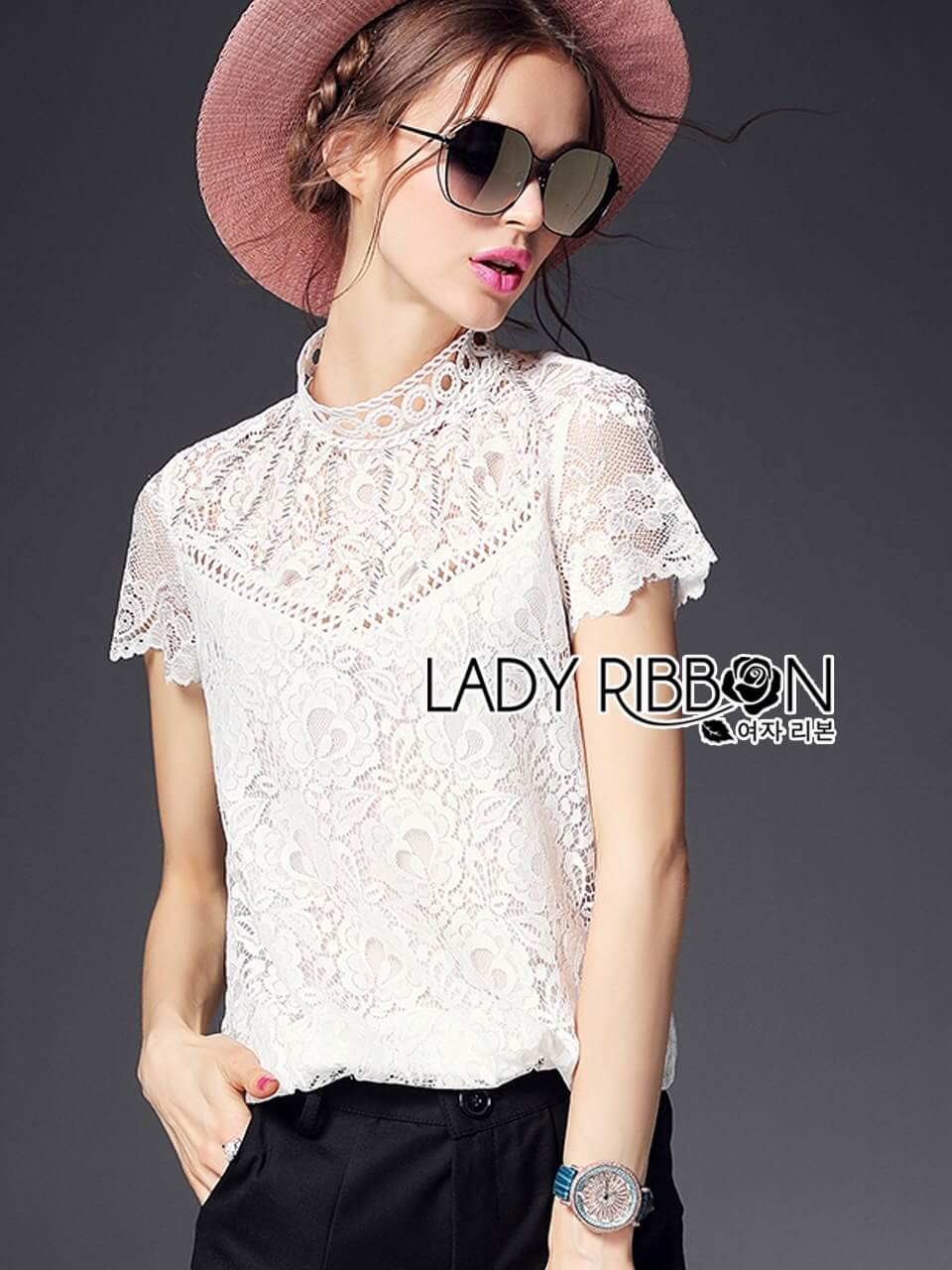 &#x1F380 Lady Ribbon's Made &#x1F380 Lady Isabelle Smart Casual High-Neck White Lace Top