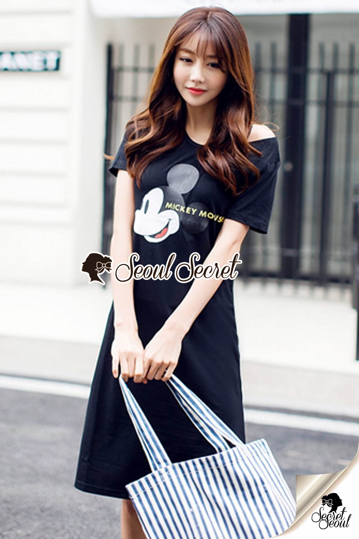 Seoul Secret Say's... We Love Mickey Black Dress
