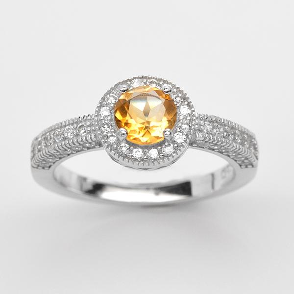 แหวนพลอยแท้ แหวนเงินแท้ 925 ชุบทองคำขาว ฝังพลอยซิทริน ล้อมเพชร CZ เกรดพรีเมี่ยม