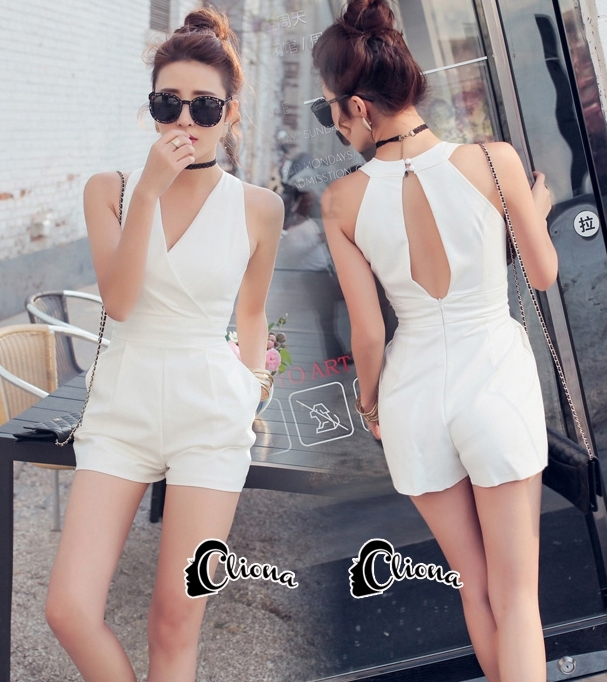 Cliona made'White Sensual Short Jumpsuite