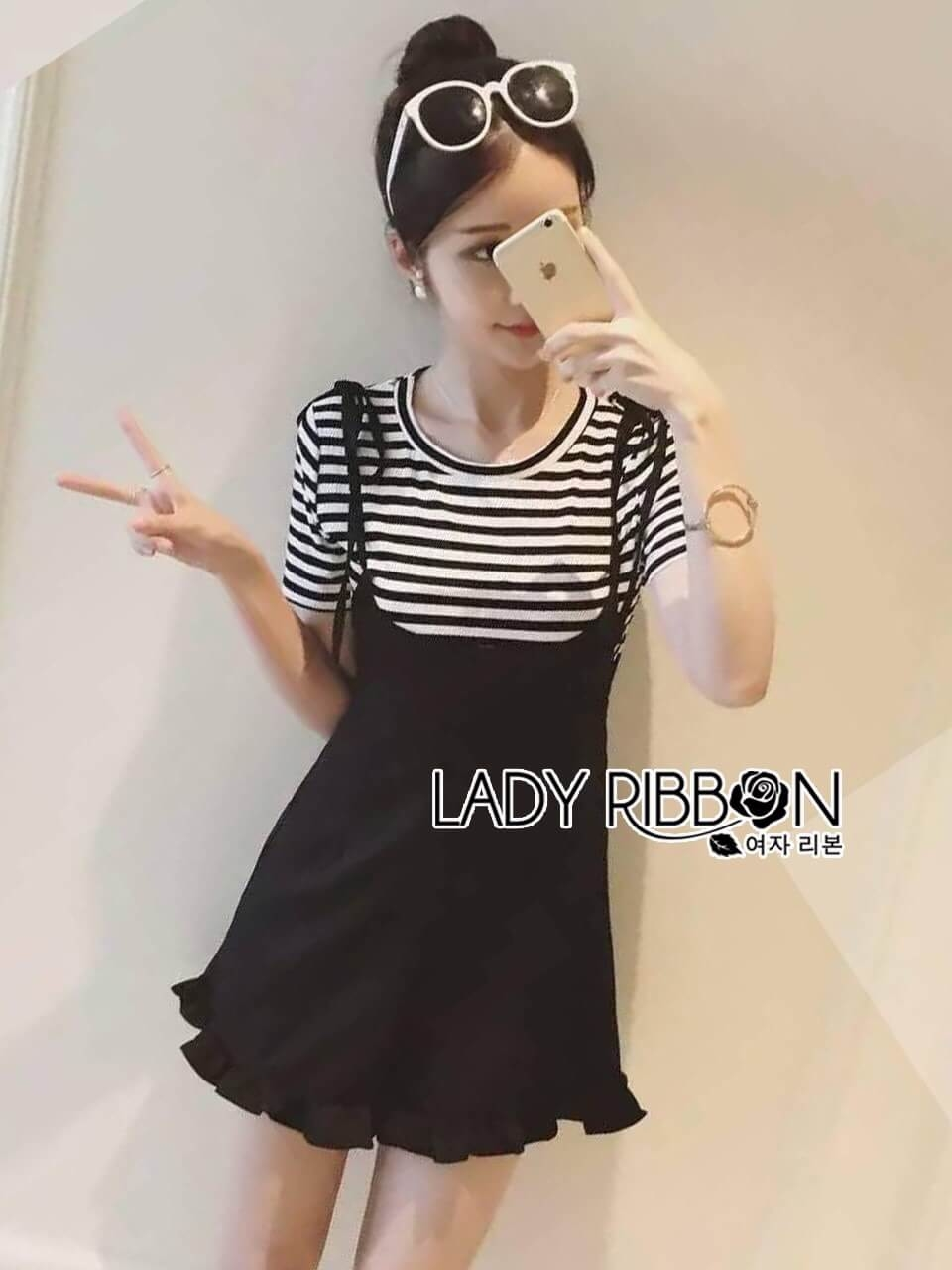 &#x1F380 Lady Ribbon's Made &#x1F380 Lady Gracie Black and White Striped knit Top and Overall Jumpsuit
